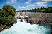 Aratiatia Rapids dam on Waikato river opened with water breaking thru, New Zealand, North Island poster