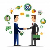 Successful partnership, business people cooperation agreement, teamwork solution and handshake of two businessman Isolated on stylish background. Flat design style modern vector illustration concept poster