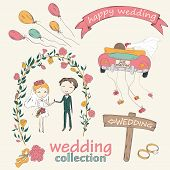 Wedding hand drawn doodle collection for wedding ceremony organizer. Just married couple in retro car dragging cans. Bride and groom under an flower arch. Vector illustration. poster