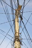 Public electricity pole with lots of tangled wires poster