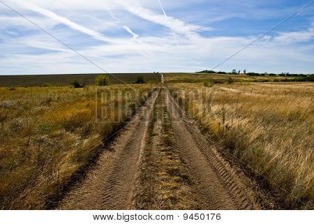 A Dirt Road Among Fields And Meadows