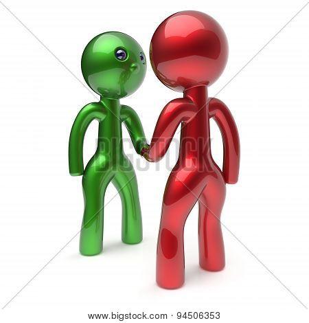 Two Men Shaking Hand Cartoon Characters Handshake