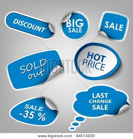 Blue Collection Stickers Sale Discount Template