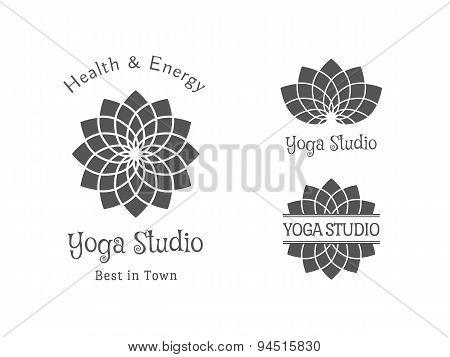 Yoga Studio Vector Logo Template Set