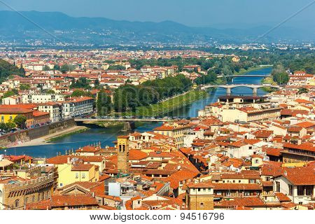 Bridges over the river Arno Ponte A. Vespucci and Ponte alla Vittoria at morning from Palazzo Vecchio in Florence, Tuscany, Italy poster