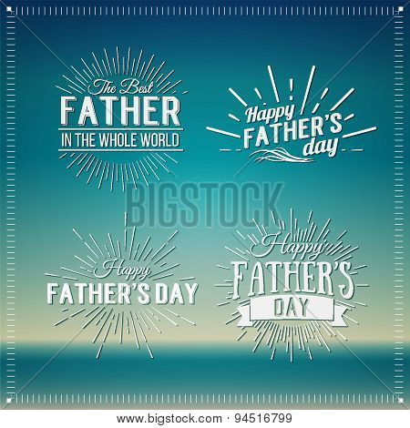 Retro Elements For Father's Day Calligraphic Designs. Vintage Ornaments.happy Father's Day Typograph