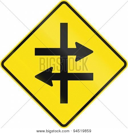 An Australian warning traffic sign - Intersection at dual carriageway poster