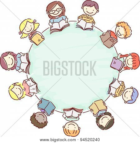 Doodle Illustration of a Circle of Kids Reading Books