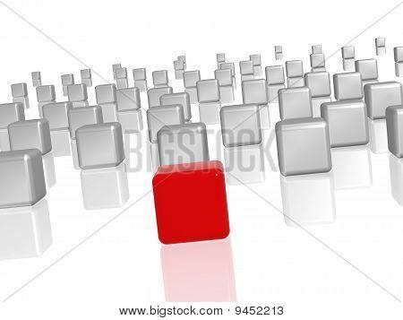 Der rote Führer In der Gruppe