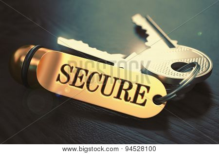 Secure - Bunch of Keys with Text on Golden Keychain.
