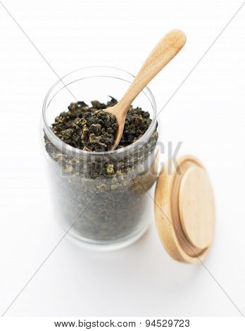 Dry Oolong Tea Leaves On White Background