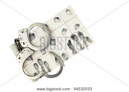 Handcuffs And Fingerprint Id For Arrest Isolated On White.