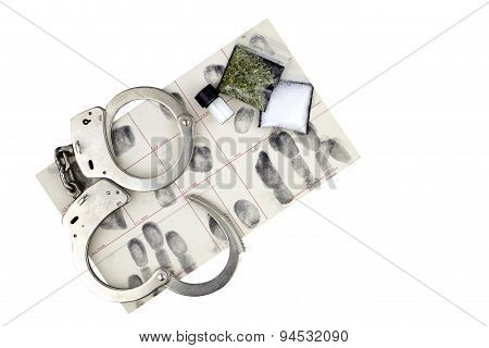 Drug Arrest With Handcuffs And Evidence