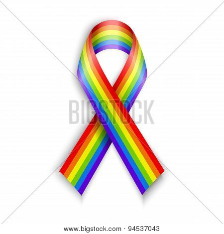 Rainbow Ribbons. Isolated on white with transparent shadow.