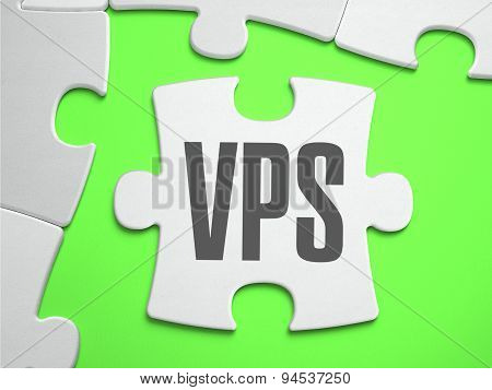 VPS - Virtual Private Server - Jigsaw Puzzle with Missing Pieces. Bright Green Background. Close-up. 3d Illustration. poster