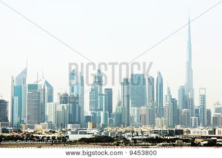 Dubai Cityscape With Skyscrapers And Other Buildings