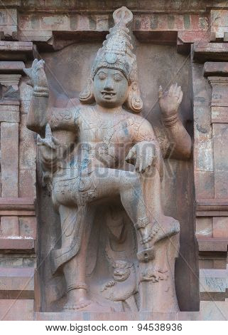 Dwarapalaka Statue On Gopuram Of Brihadeswarar Temple.