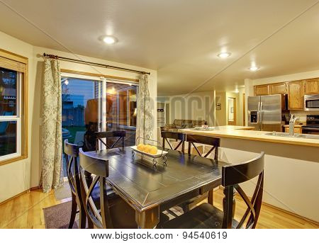 Excellent Dinning Room With Hardwood Floor.