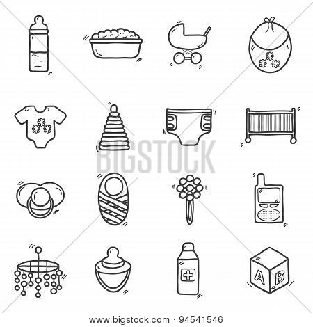 Set of cute hand drawn icons on baby theme. Baby care concept with hand drawn objects: baby carriage