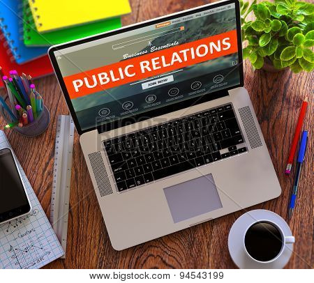 Public Relations. Online Working Concept.