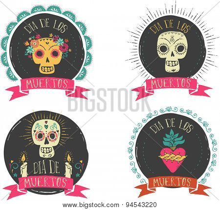 print - mexican sugar skull and heart set, day of the dead poster