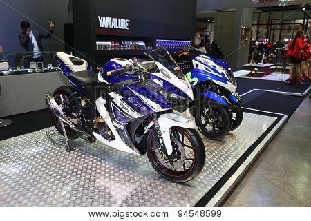Bangkok - June 24 :yamaha Motocycle  Car On Display At Bangkok International Auto Salon 2015 On June