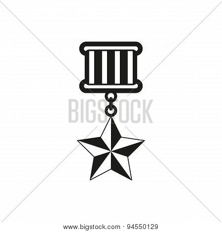 The medal icon. honor symbol. Flat Vector illustration poster