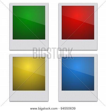 Set Retro Photo Frame Polaroid  On White Background. Vector illu