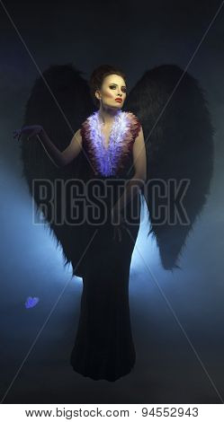 Studio photo of beautiful succubus with wings
