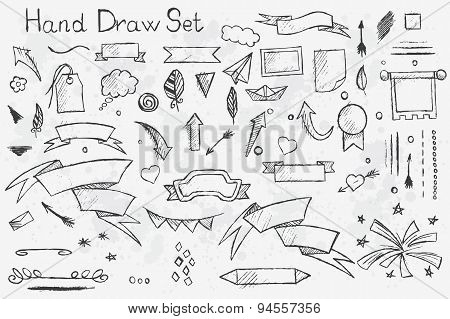 Set Hand Drawn Pencil Elements On Theme Of The Tape