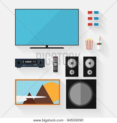 Vector video equipment icon set