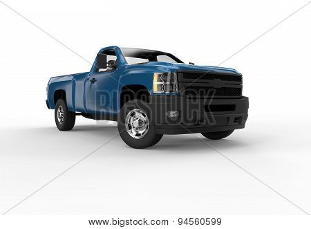 Front Of A Blue Pick Up Truck