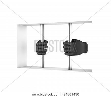 Hands in black gloves decompress the prison bars. 3d render. White background. poster