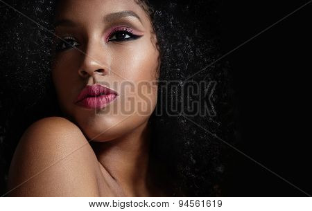 Pink Makeup On A Black Afro Woman