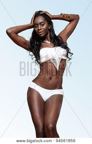 Black Woman Wearing White Swimsuit
