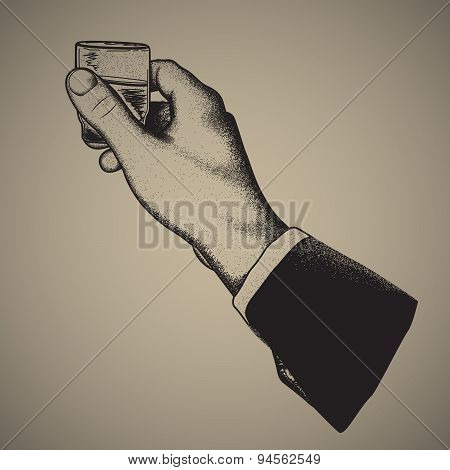 Vector sign-hand holding an alcoholic drink ,hand drawing, offset printing.engraving style.