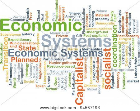 Background concept wordcloud illustration of economic system poster