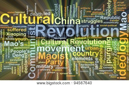 Background concept wordcloud illustration of Cultural Revolution glowing light