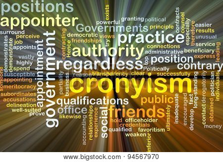 Background concept wordcloud illustration of cronyism glowing light