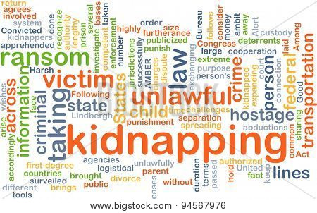 Background concept wordcloud illustration of kidnapping
