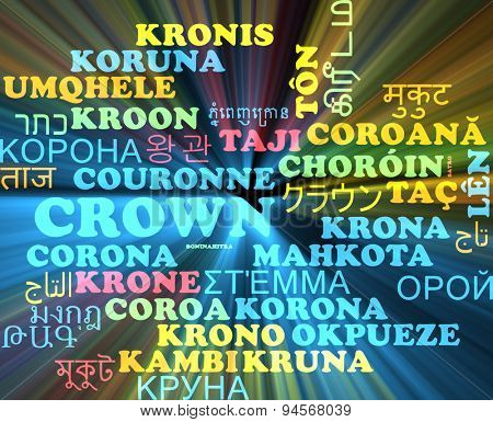 Background concept wordcloud multilanguage international many language illustration of crown glowing light