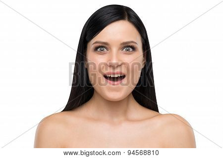 Portrait Of Astonished Brunette.