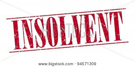 Insolvent Red Grunge Vintage Stamp Isolated On White Background