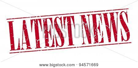Latest News Red Grunge Vintage Stamp Isolated On White Background