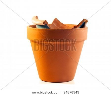 Pot With Ceramics Fractions