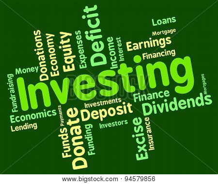 Investing Word Indicating Return On Investment And Investments Invests poster