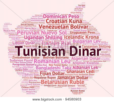 Tunisian Dinar Indicating Currency Exchange And Word poster