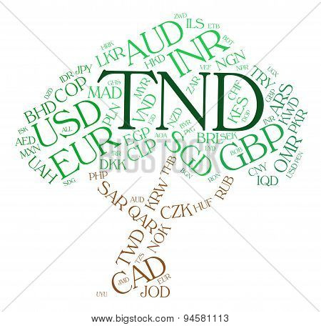 Tnd Currency Indicating Tunisian Dinar And Broker poster