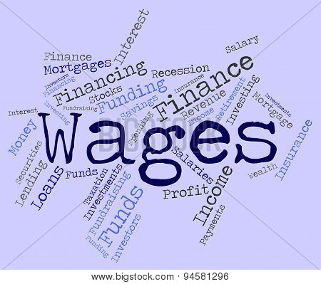 Wages Word Indicating Incomes Earnings And Earning poster
