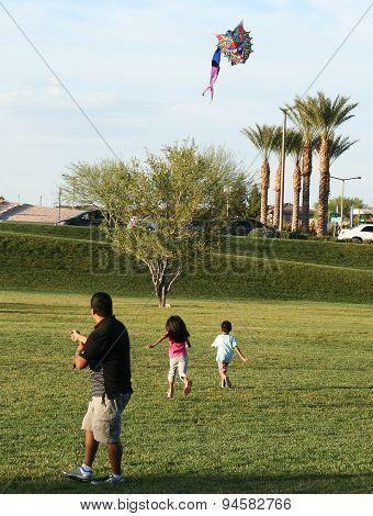 A Family Flies A Kite, Summerlin, Las Vegas